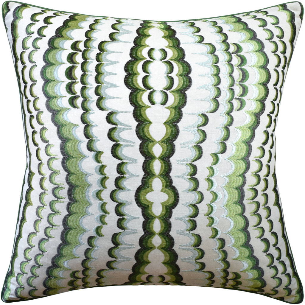 Ebru - Piped - Pillow - Embroidery Green - 22x22