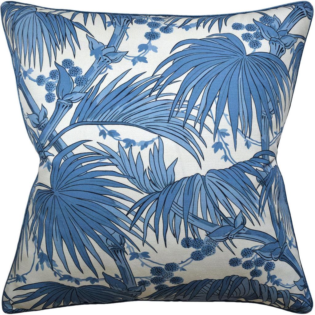 Las Palmas - Piped - Pillow - Blue - 22 x 22