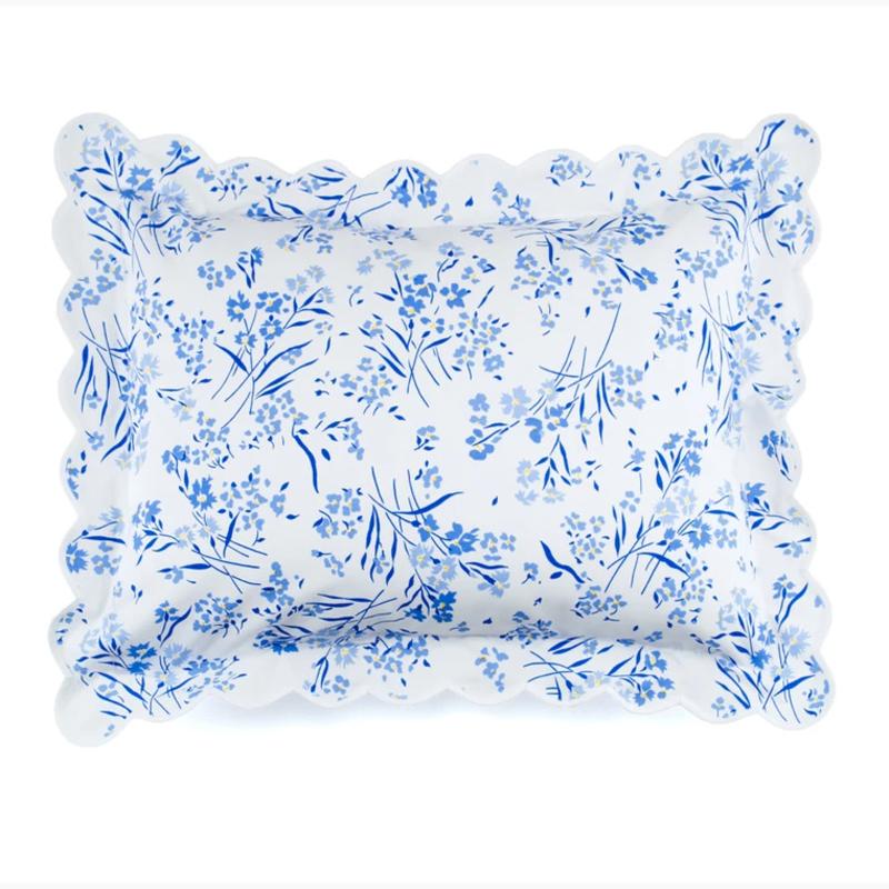 D. Porthault Fleurs des Champs - Blue - White Scallop - Bedding - Sham - Boudoir