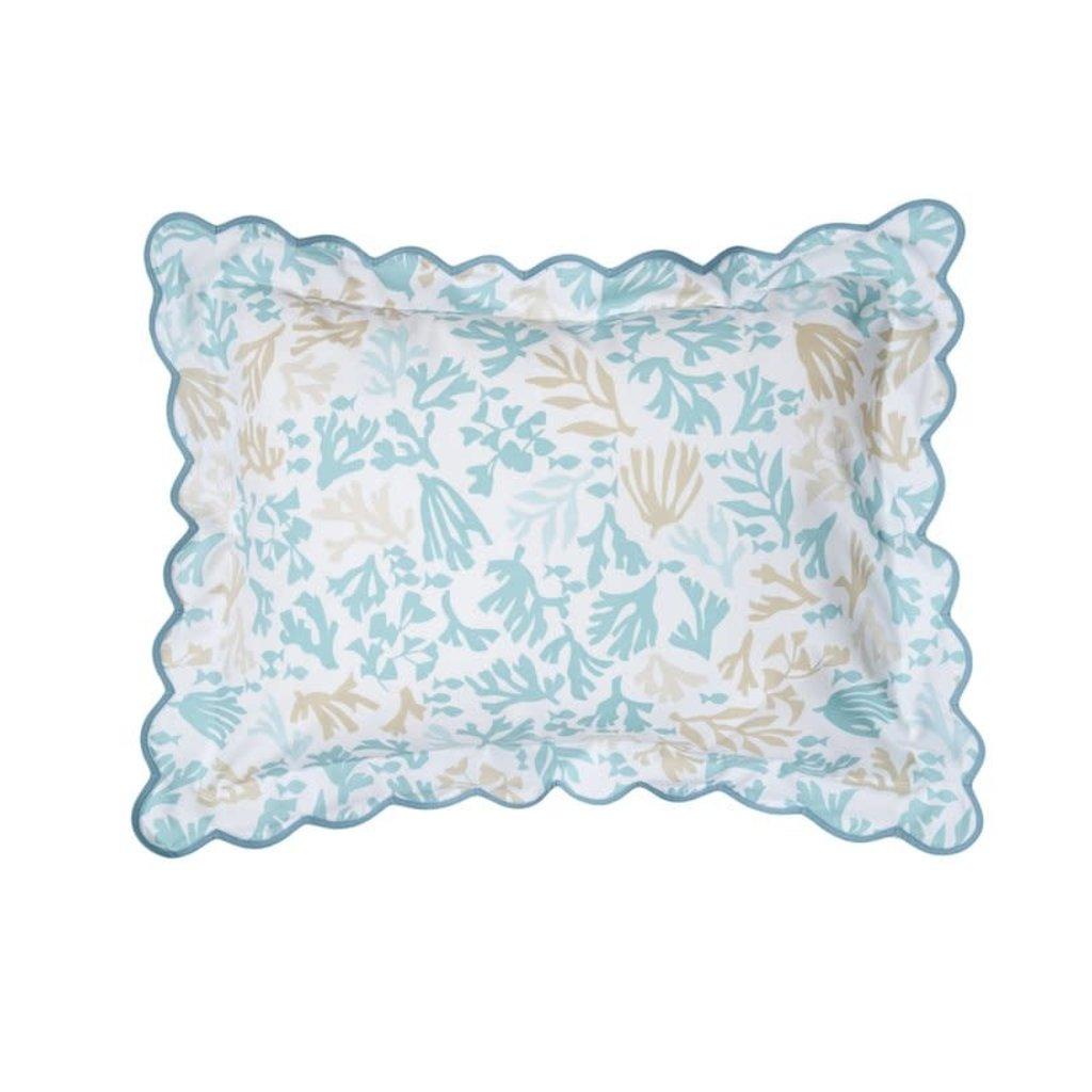 D. Porthault Matisse Coral - Blue - Bedding - Sham - Boudoir