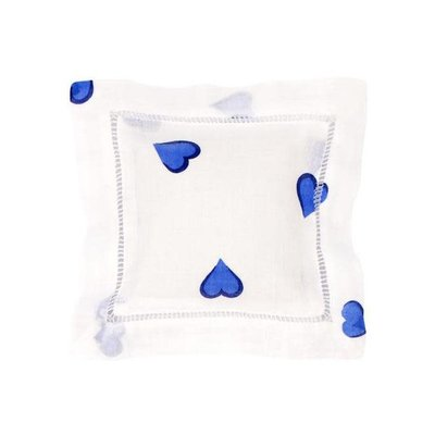 Sachet - Square - Embroidered - Coeurs - Blue