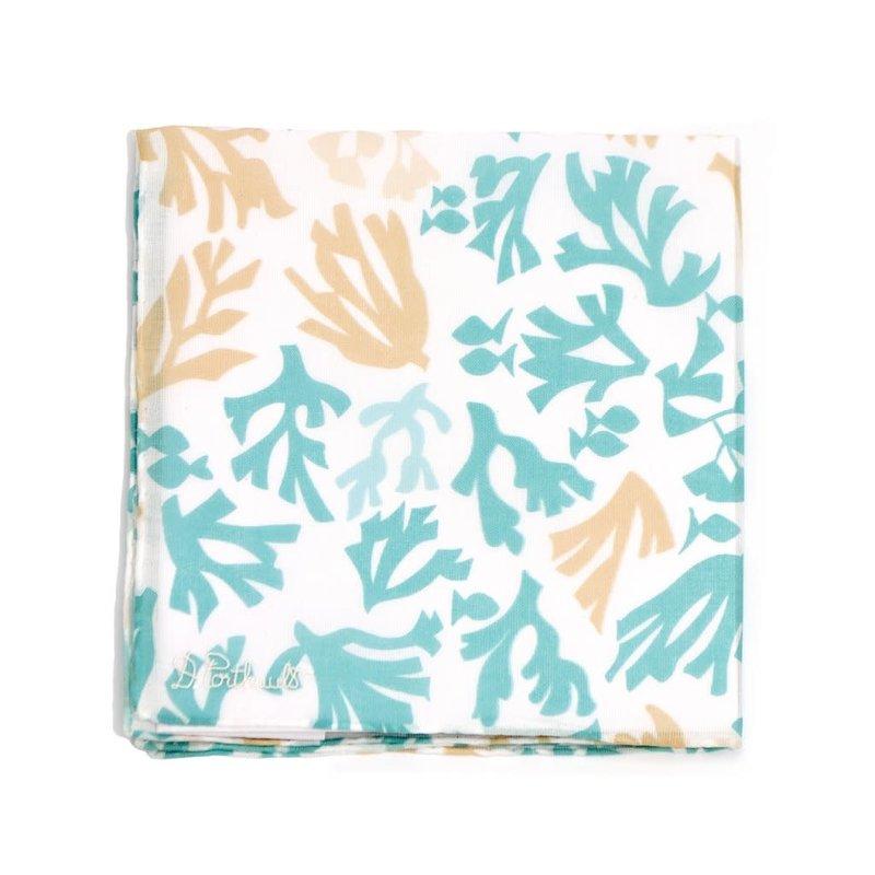 D. Porthault Hankie - Matisse Coral - Blue