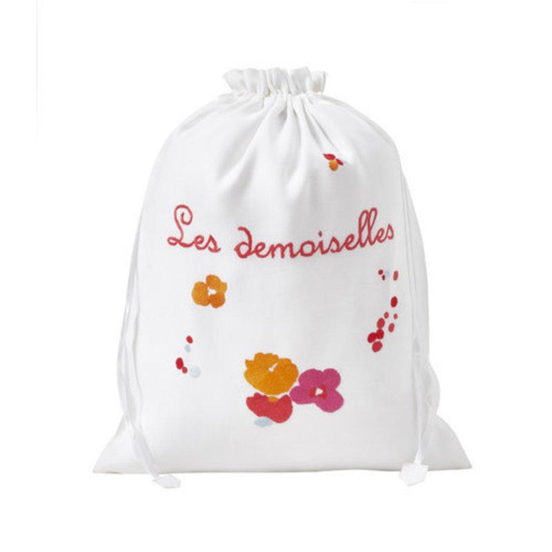 Bag - Demoiselles - Pink/Orange - Lingerie - Embroidered - Large