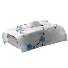 D. Porthault Tissue Box Cover - Fleurs de Pecher - Blue