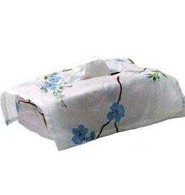 D. Porthault Tissue Box Cover - Fleurs de Pecher - Blue