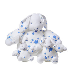 D. Porthault Stuffed Bunnies in Blue Stars or Pink Hearts