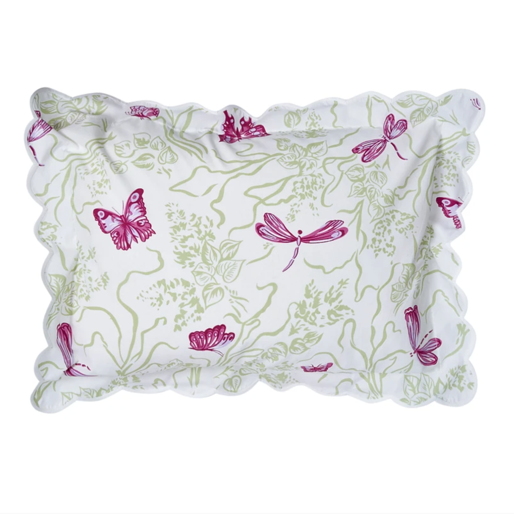 D. Porthault Dragonfly - Bedding -  Pink/Green - White Scallop - Boudoir