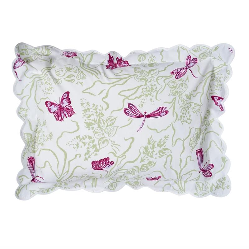 Dragonfly - Bedding -  Pink/Green - White Scallop - Boudoir