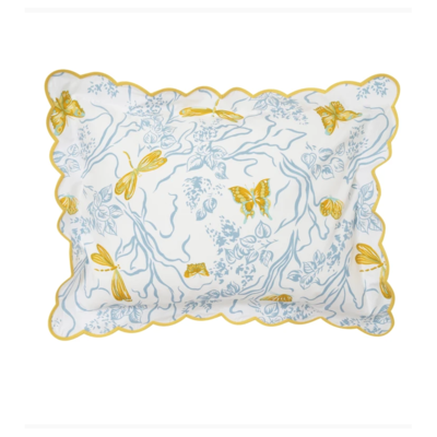 Dragonfly - Bedding -  Blue/Yellow - White Scallop - Boudoir
