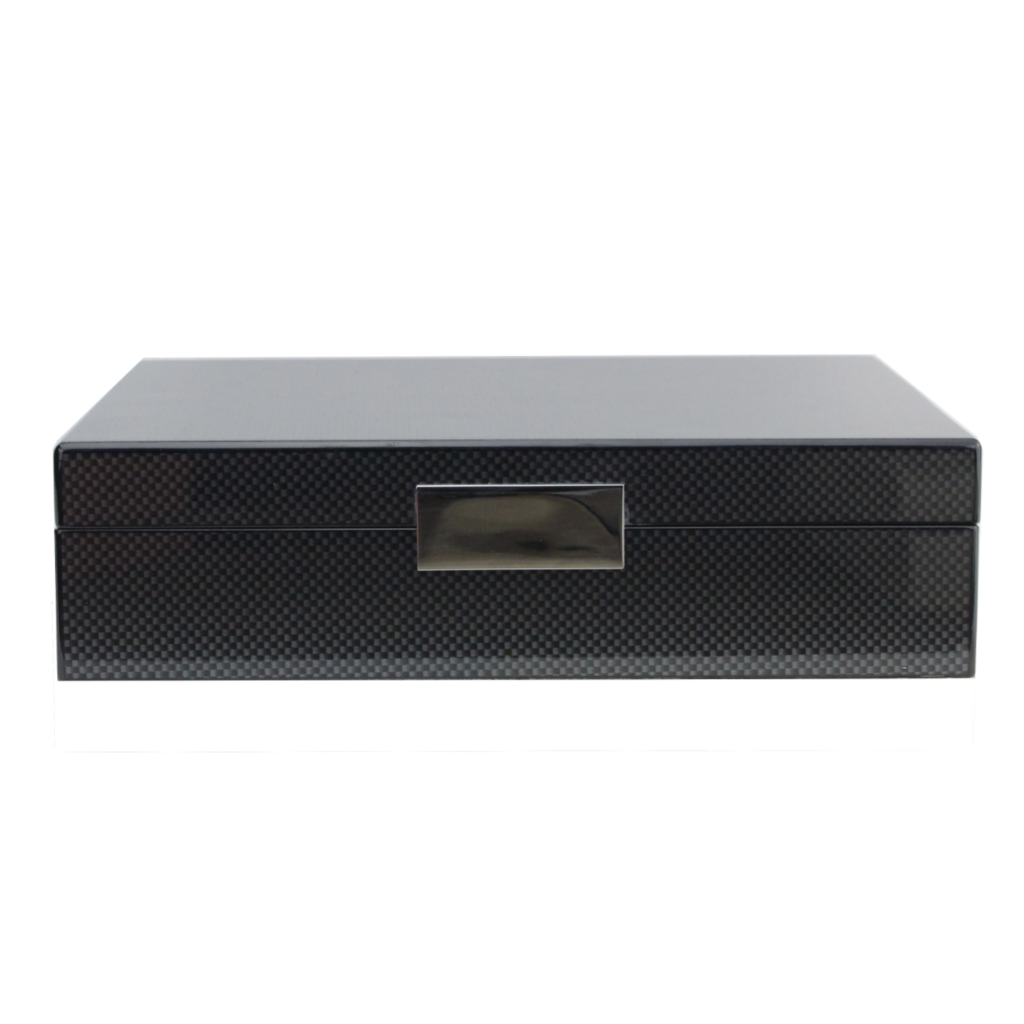 Addison Ross Lacquered Boxes - Carbon Fiber/Silver