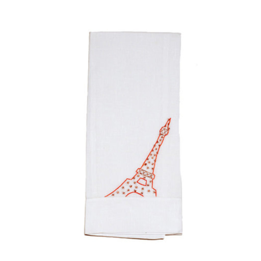 Guest Towel - Eiffel Tower - Coral