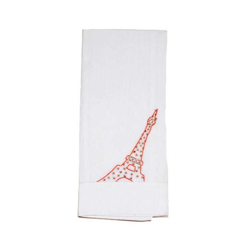 D. Porthault Guest Towel - Eiffel Tower - Coral