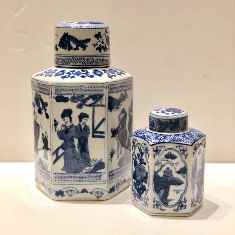 "MH Jar - Hexagon Tea Jar - Canton Blue & White Collection  - 6-1/2"""
