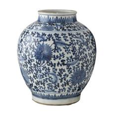 Ginger Jar Vase - Blue & White - Lotus Pot