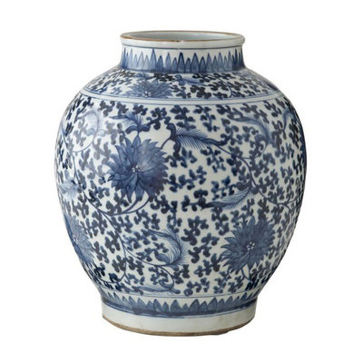 Ginger Jar Vase - Blue & White - Lotus Pot