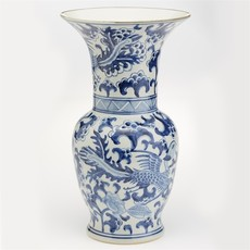 "Vase - Flared Phoenix - Blue & White - 15.5""H"