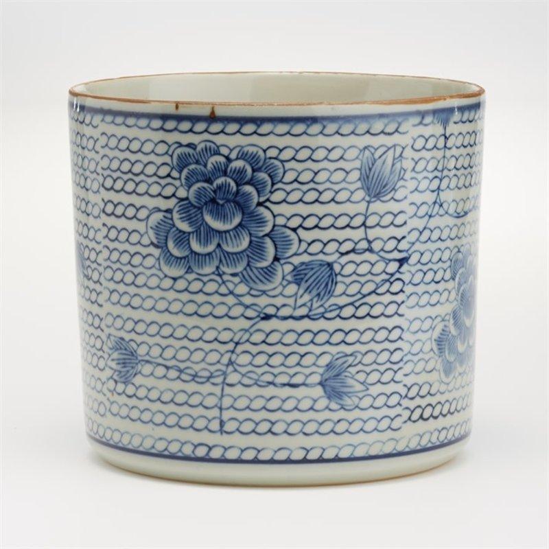 Two's Company Cachepot - Blue & White - Chrysanthemum Round Chain