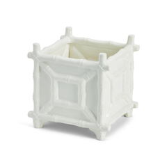 Cachepot - Faux Bamboo - White