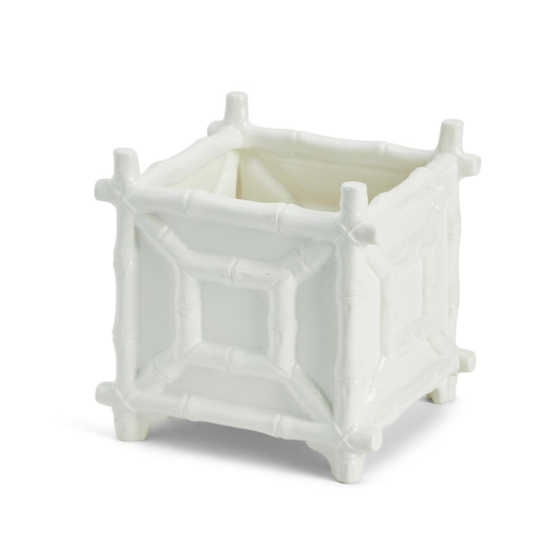 Two's Company Cachepot - Faux Bamboo - White
