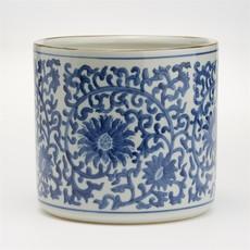 Cachepot - Blue & White - Lotus Flower Planter