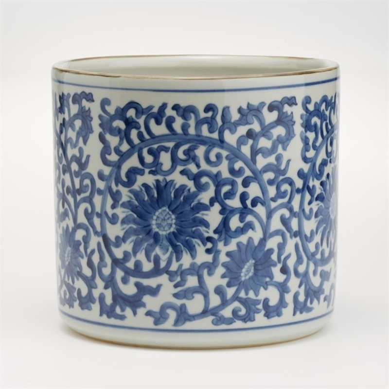 Two's Company Cachepot - Blue & White - Lotus Flower Planter