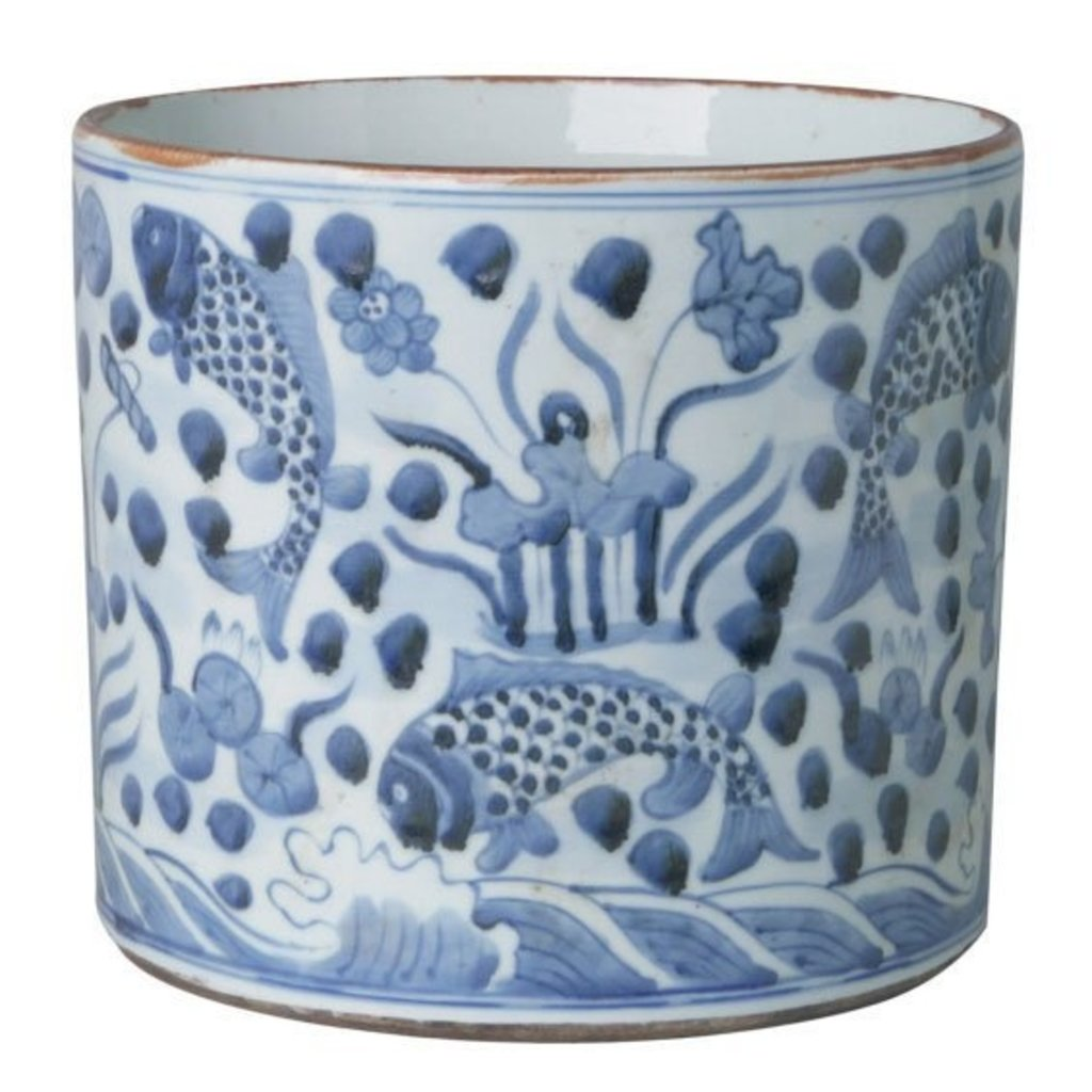 Cachepot - Blue & White - Round - Fish