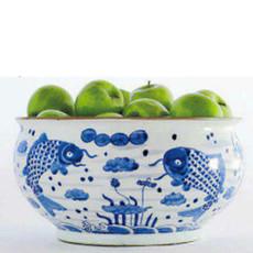 Pot - Fish - Blue & White - Large