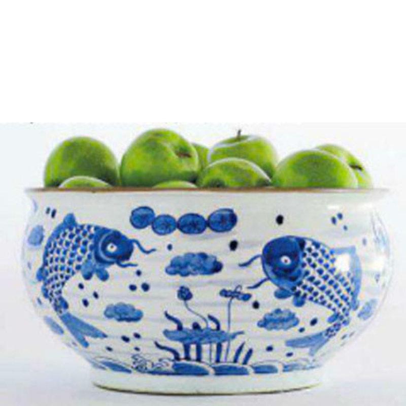 MH Pot - Fish - Blue & White - Large