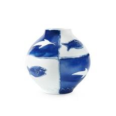 "Vase - Malaga - Blue & White Fish - 9.5""W x 9""H"