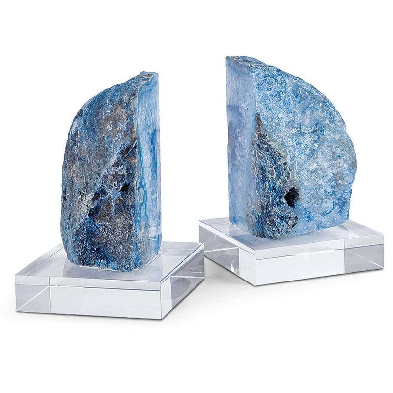 Regina Andrew Bookends - Teal Geode on Crystal