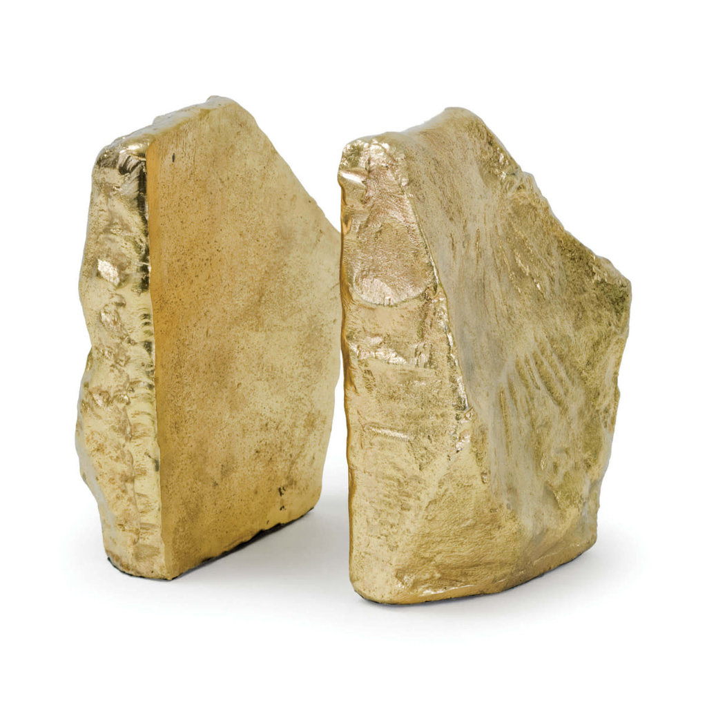 MH Bookends - Rock - in Soft Gold