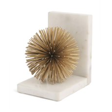 Bookends - Gold Starburst on White Marble