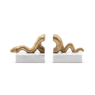 Bookends - Asp - Gold Leaf Iron on Marble - 14.5W x 5D x 6.5H