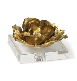 MH Object - Adeline Bloom Accent/Candle Holder on Crystal - Gold - 5Hx6Hx6W