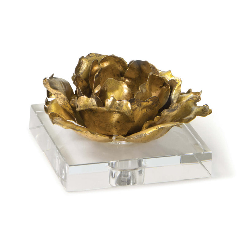 Regina Andrew Object - Adeline Bloom Accent/Candle Holder on Crystal - Gold - 5Hx6Hx6W
