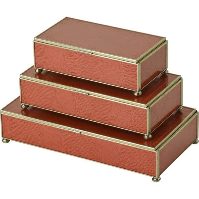 JM Piers Fine Furniture Box - Lizard Skin - Rectangle - Orange -