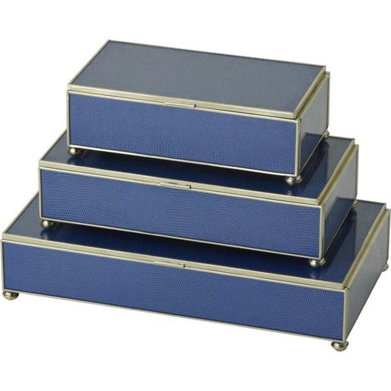 JM Piers Fine Furniture Box - Lizard Skin - Rectangle - Cobalt -