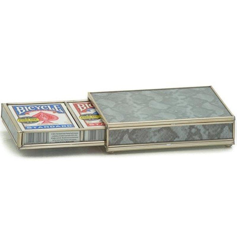 JM Piers Fine Furniture Card Box -  Silver Python