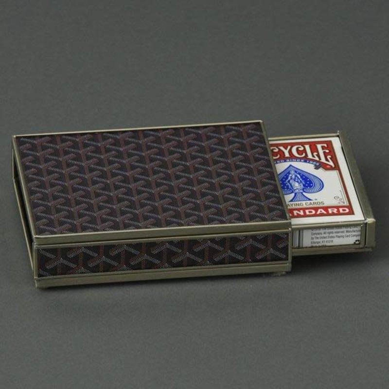 JM Piers Fine Furniture Card Box -  Goyard Inspired - Brown