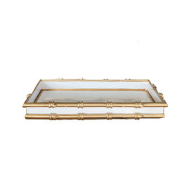 "Tray - White w/Gold Bamboo  - 20"" x 16"""
