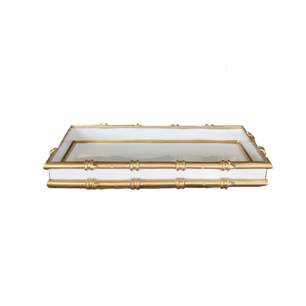 "MH Tray - White w/Gold Bamboo - Small - 12"" x 6"""