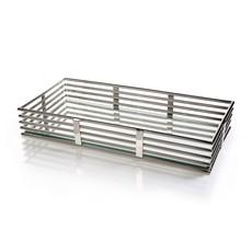 "Pipe Design Polished Nickel & Glass Rectangular Tray 13.5""x29.5""x4.5"""