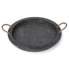 """MH Tray - Aegean Serving - Handles/Round - 22""""D -  Grey"""