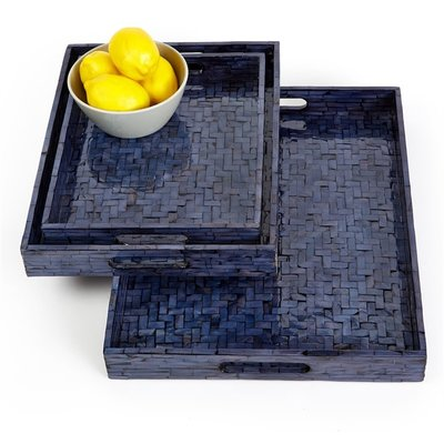 Tray - Gallery - Herringbone - Midnight Blue - Rectangle -