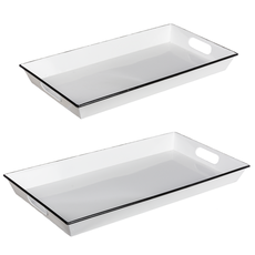 Tray - Enamel - Black & White Rectangle -