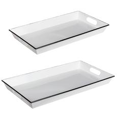 MH Tray - Enamel - Black & White Rectangle -