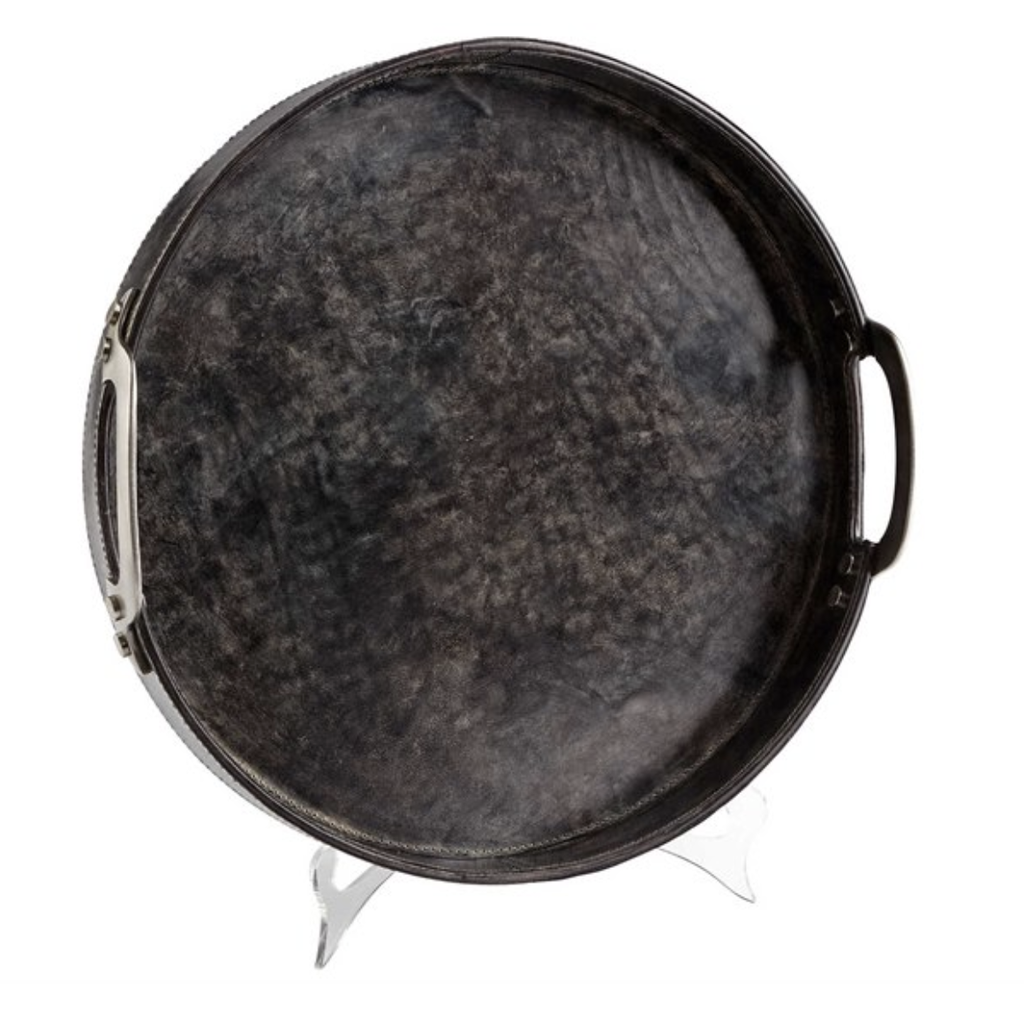 """Tray - Rough N' Ready Tray - Leather/Wood - Large - 16.25"""""""