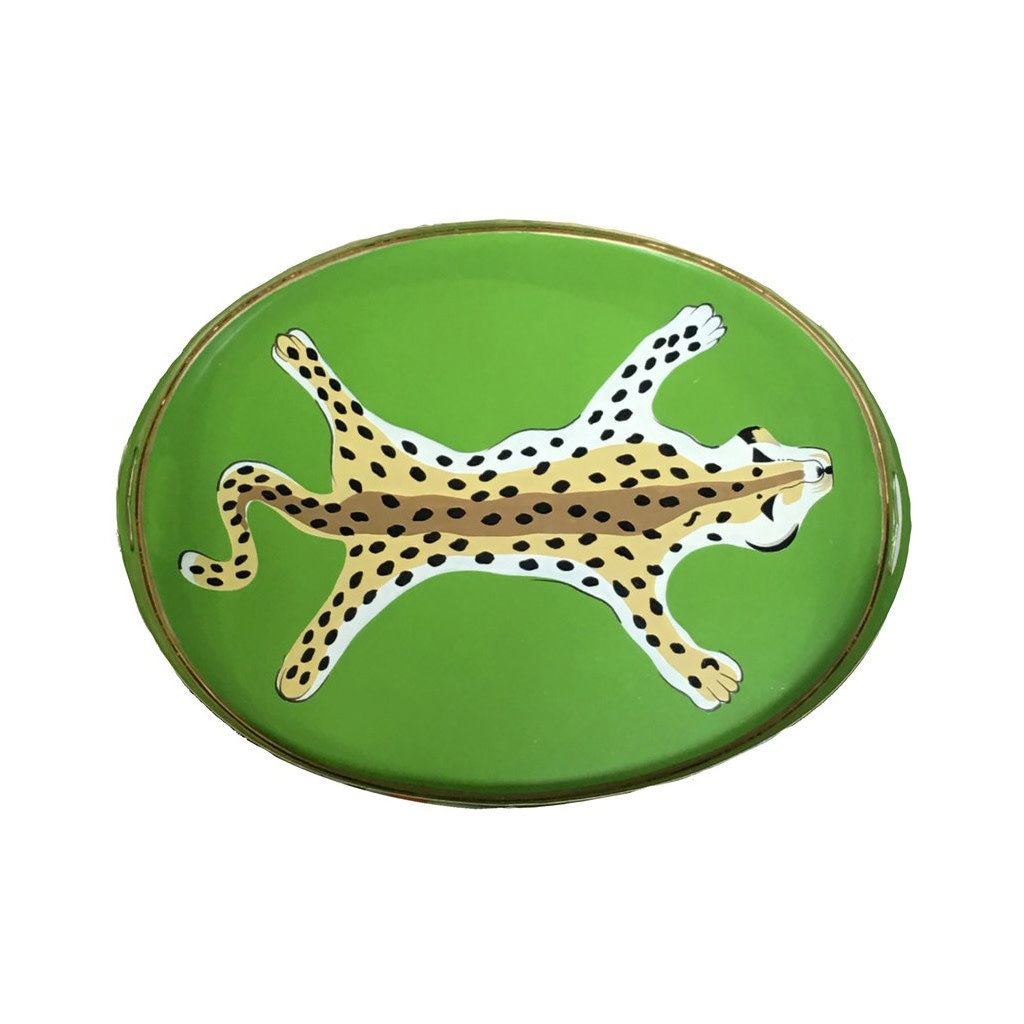 Tray - Handled - Tole/Oval - Leopard - Small - Green - 20x14x2.5