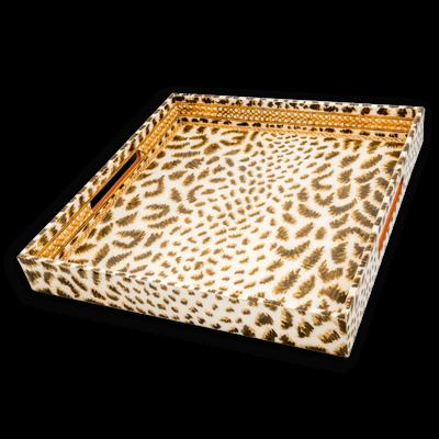 Tray - Lacquer - Cheetah - 15x15 -  Natural