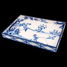 Habitat International Tray - Lacquer - Peking Picnic - Blue - 14x20